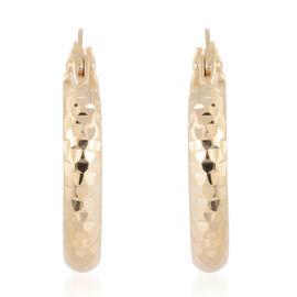9K Yellow Gold Diamond Cut Hoop Earrings