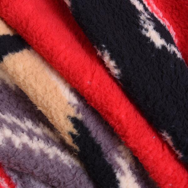 Tribal Pattern Sherpa Blanket (150x200cm)- Red Stripe