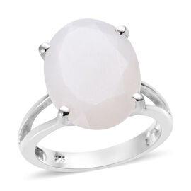 Sri Lankan White Moonstone (Ovl 16x12 mm) Ring in Sterling Silver 8.0 Ct.