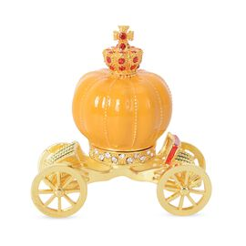Decorative Pumpkin Carriage Trinket Box (Size 10x9 Cm) - Yellow and Golden Colour