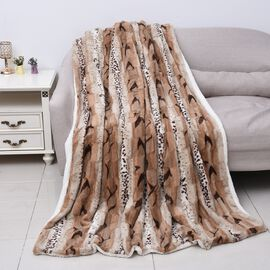 One Time Mega Deal- Sumptuous Quality Faux Fur Sherpa Blanket in Beige and White. (150x200cm)