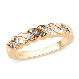 Diamond (Bgt) Ring in 14K Gold Overlay Sterling Silver 0.25 Ct.