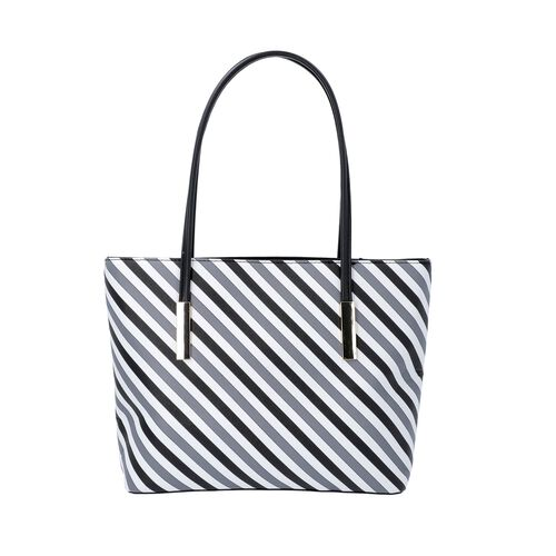 Diagonal Stripe Pattern Tote Bag with Zipper Closure and External Pocket (Size 32x11x26 Cm) - Grey,