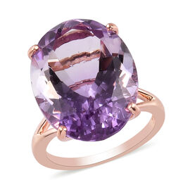 Cocktail Collection-Rose De France Amethyst Solitaire Ring in Rose Gold Overlay Sterling Silver 14.7