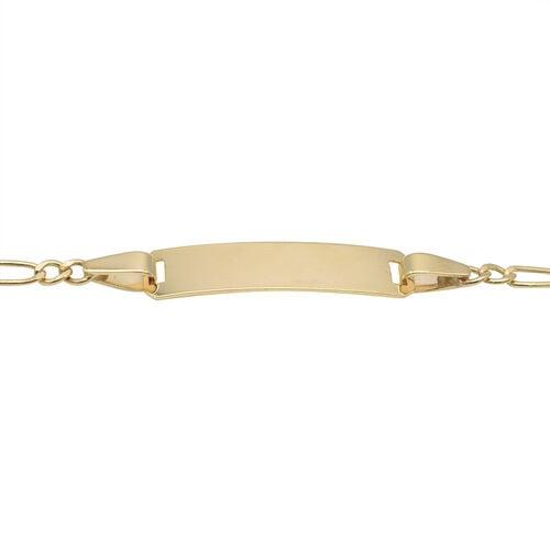 Italian Made - 9K Yellow Gold Figaro ID Bracelet (Size 7)