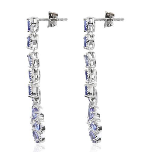 Tanzanite (Pear), Natural Cambodian Zircon Floral Dangling Earrings (with Push Back) in Platinum Overlay Sterling Silver 3.500 Ct. Silver wt 6.68 Gms.