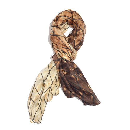 100% Mulberry Silk Chocolate, Black and Beige Colour Handscreen Grid Printed Scarf (Size 200X180 Cm)