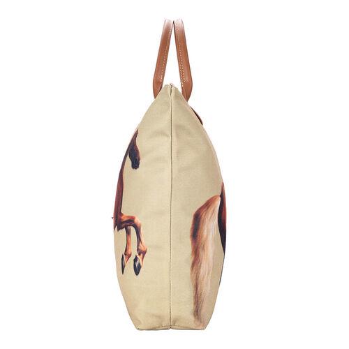 Signare Tapestry - Whistlejacket Artwork Foldaway Shopping Bag (Size 30X9X36cm) - Light Brown