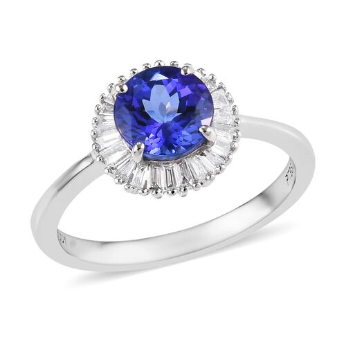 RHAPSODY 1.60 Ct AAAA Tanzanite and Diamond VS EF Halo Ring in 950 Platinum 4.61 Grams