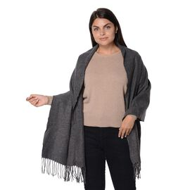 Winter Shawl with Tassels (Size 60x180 Cm) - Grey