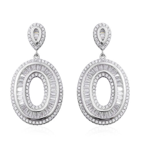 Limited Available - ELANZA Simulated Diamond (Bgt) Earrings in Sterling Silver