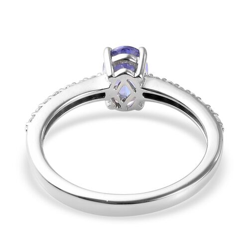 9K White Gold AA Tanzanite (Ovl 7x5mm), Natural Cambodian Zircon Ring 0.90 Ct.