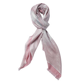 Art Pattern Diamond and Stripe Pattern Scarf with Tassels (Size 170x70+10 Cm) - Pink and Multi