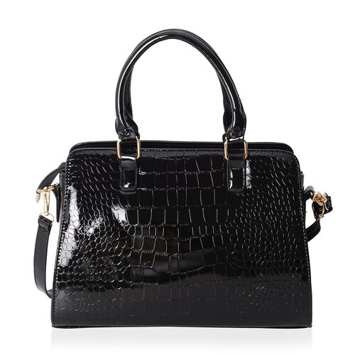 HONG KONG CLOSE OUT-Classic High Glossed Black Croc Embossed Tote Bag with Removable Shoulder Strap (Size 32x23x11 Cm)