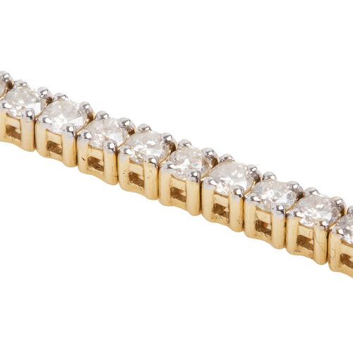 New York Close Out 14K Yellow Gold Diamond (Rnd) (I2/G-H) Bracelet (Size 7.25) 5.000 Ct, Gold wt 13.00 Gms.