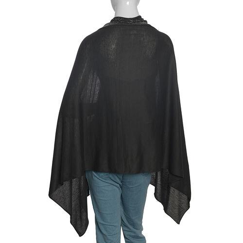 Designer Inspired- Black Colour Kaftan with Swarovski Crystal Embellished (Size 151.13x69.85 Cm)
