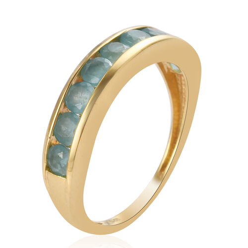 One Time Deal- Grandidierite Half Eternity Band Ring in 14K Gold Overlay Sterling Silver 1.00 Ct.