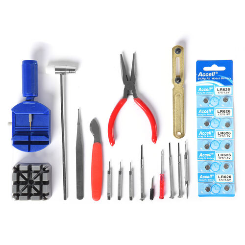 Watch Repair Tool Kit (17 Watch Reparing Tools and 10 Batteries)