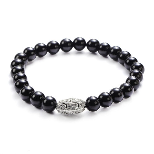 Black Tourmaline and Simulated Diamond Beads Stretchable Bracelet (Size 7.5) in Silver Tone 104.50 Ct.