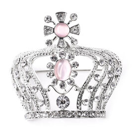 Simulated Cats Eye Pink (Rnd and Ovl), White Austrian Crystal Crown Brooch in Silver Tone