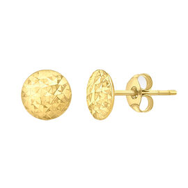 9K Yellow Gold Pyramid Button Stud Earrings (with Push Back), Gold wt 1.15 Gms