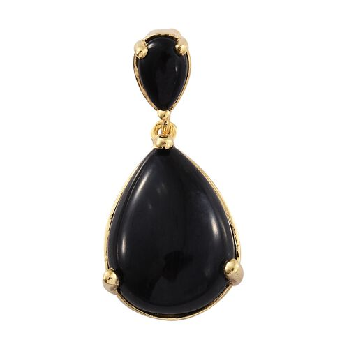 Black Tourmaline (Pear) Drop Pendant in 14K Gold Overlay Sterling Silver 13.000 Ct.
