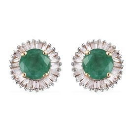 1.35 Ct Zambian Emerald and Diamond Stud Halo Earrings in 9K Gold