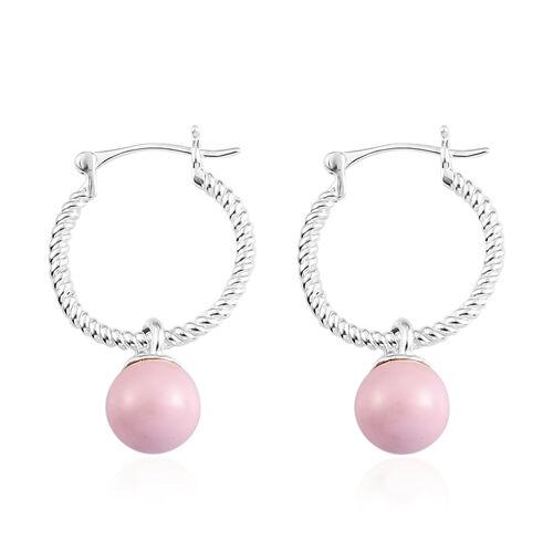 J Francis Crystal From Swarovski Pastel Rose Pearl Crystal Drop Hoop Earrings (with clasp) in Sterling Silver