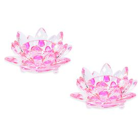 2 Piece Set Crystal Waterlily Candle Holder  (Size 11x5 Cm) - Fuchsia