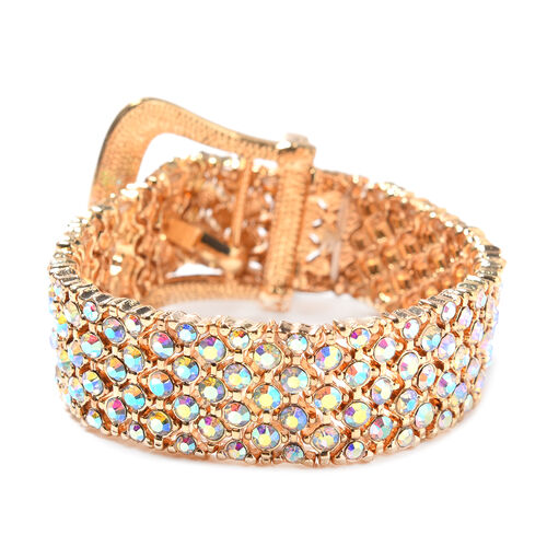 Simulated Mystic White Crystal Stretchable Buckle Bracelet (Size 6.5 - 8) in Yellow Gold Tone