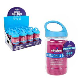 Sports Chill Towel & Carabiner Bottle - Pink