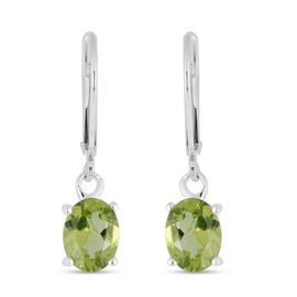 2.6 Ct Chinese Peridot Drop Earrings in Sterling Silver With Lever Back