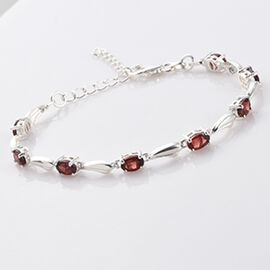 Red Garnet Bracelet (Size 6.5 with 1.5 inch Extender) with Lobster Clasp in Sterling Silver 4.48 Ct.