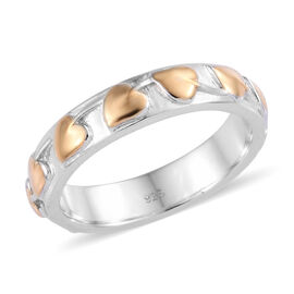 Platinum and Yellow Gold Overlay Sterling Silver Leaf Band Ring, Silver wt 3.83 Gms