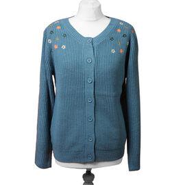 LA MAREY Dark Cyan Knit Cardigan with Multi Colour Floral Embriodery