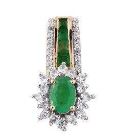 1.50 Carat Zambian Emerald and Cambodian Zircon Halo Pendant in 9K Gold 2.89 Grams