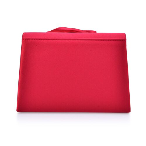 Le Rosey Red Satin Clutch Removable Chain Strap (Size 17x12x6 Cm)