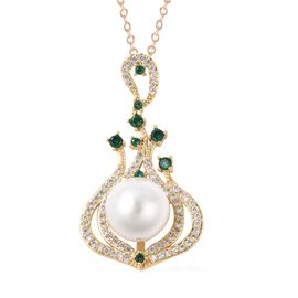 White Shell Pearl (Rnd), Simulated Diamond and Simulated Emerald Pendant with Chain (Size 24) in Gol