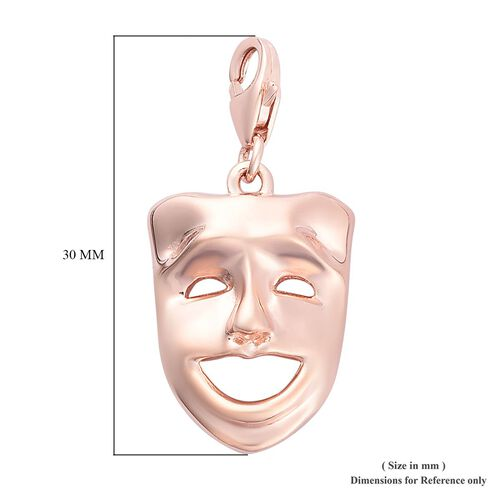 Laughing Face Mask Charm in Rose Gold Overlay Sterling Silver
