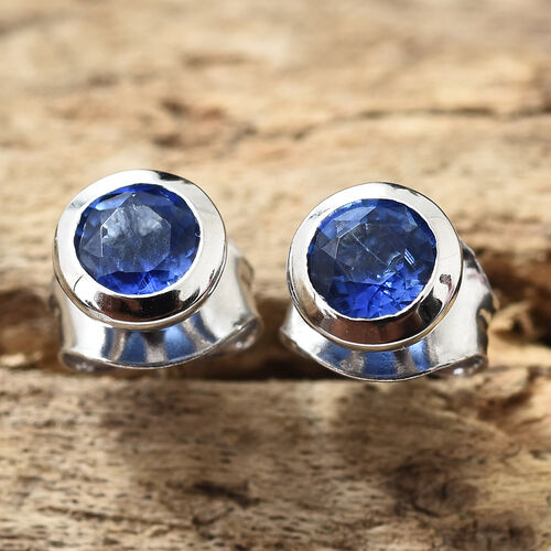 9K White Gold AAA Himalayan Kyanite (Rnd) Stud Earrings (with Push Back) 0.650 Ct
