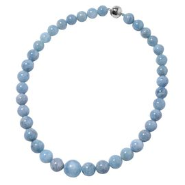 20 Inch Aquamarine Beaded Necklace in Rhodium Plated Sterling Silver 8 Grams