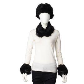 3 Piece Set - Faux Fur Hat, Scarf and Cuff Bracelet - Black
