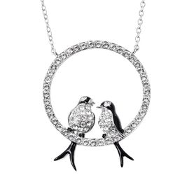J Francis - Crystal from Swarovski White Crystal Enamelled Love Bird Necklace (Size 18) in Sterling