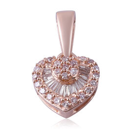 9K Rose Gold White and Natural Pink Diamond Heart Pendant 0.202 Ct.