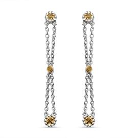 GP Italian Garden Collection - Yellow Diamond and Kanchanaburi Blue Sapphire Earrings in Platinum Ov