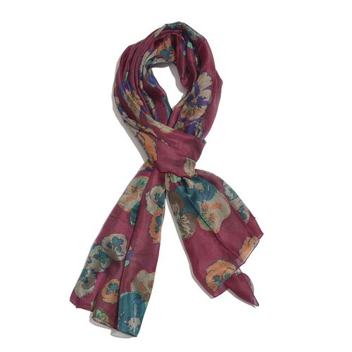100% Mulberry Silk Wine Red, Purple, Blue and Multi Colour Handscreen Floral Printed Scarf (Size 180