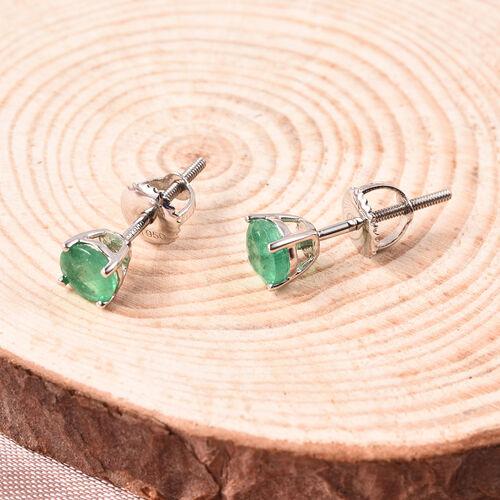 RHAPSODY 950 Platinum AAAA Zambian Emerald (Rnd) Earrings (with Screw Back) 1.00 Ct.