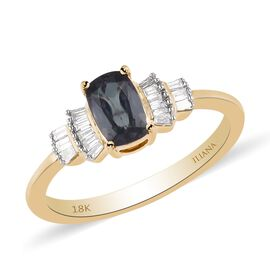 ILIANA 18K Yellow Gold AAA Narsipatnam Alexandrite and Diamond Ring 1.00 Ct, Gold wt. 3.01 Gms