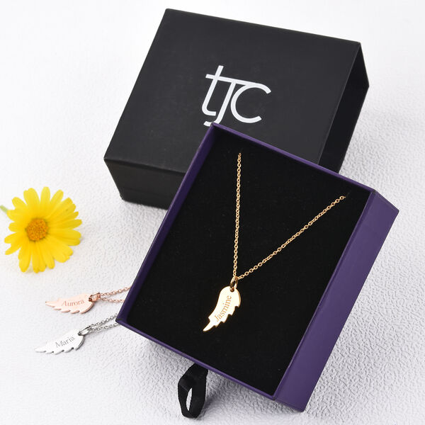 Personalise Engraved Angel Wings Pendant with 20Inch Chain in Silver