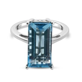 Skyblue Topaz Solitaire Ring in Platinum Overlay Sterling Silver 6.00 Ct.
